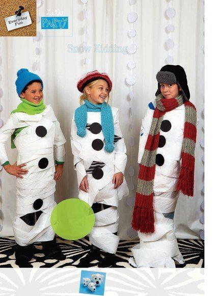 Toilet paper snowman contest.