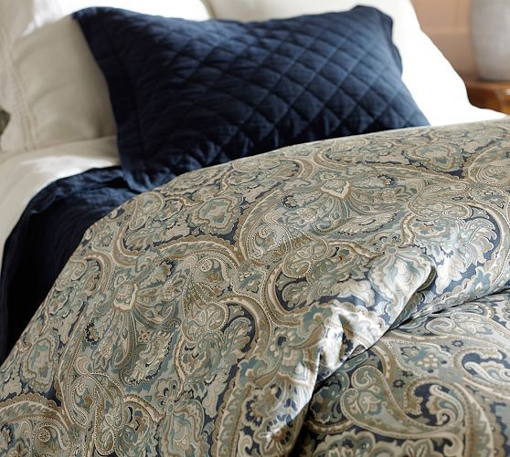Mackenna Paisley Percale Duvet Cover Amp Shams Blue In