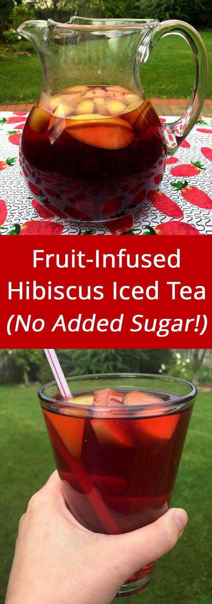 Fruit-Infused Hibiscus Iced Tea - naturally sweet, no added sugar, zero calorie drink! | http://MelanieCooks.com