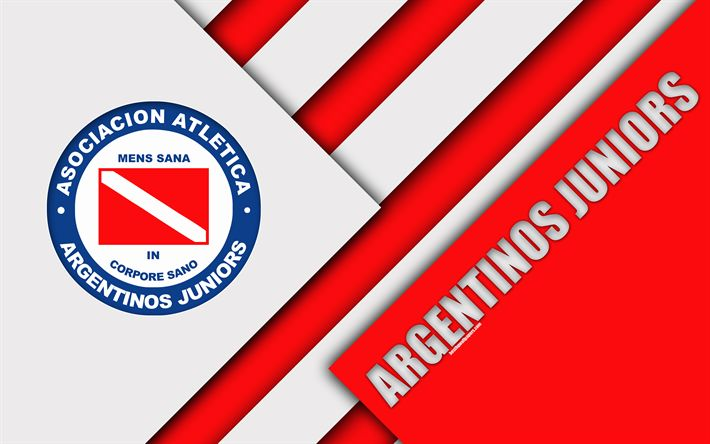 Download wallpapers Argentinos Juniors, AAAJ, Argentine football club, 4k, material design, red white abstraction, Buenos Aires, Argentina, football, Argentine Superleague, First Division