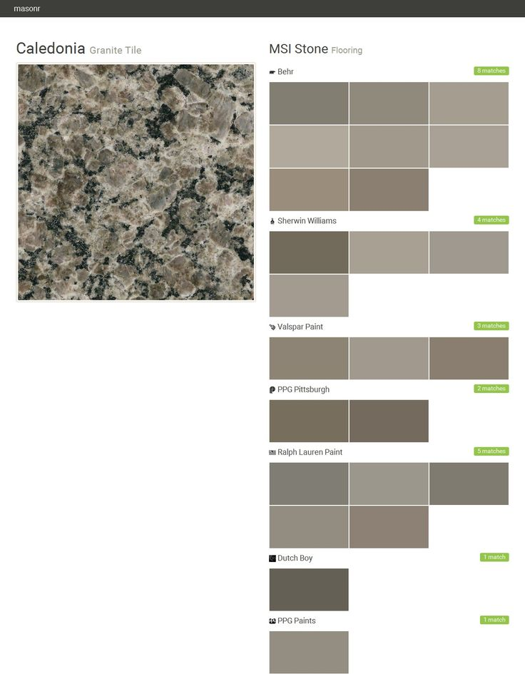 Caledonia. Granite Tile. Flooring. MSI Stone. Behr. Sherwin Williams. Valspar Paint. PPG Pittsburgh. Ralph Lauren Paint. Dutch Boy. PPG Paints.  Click the gray Visit button to see the matching paint names.