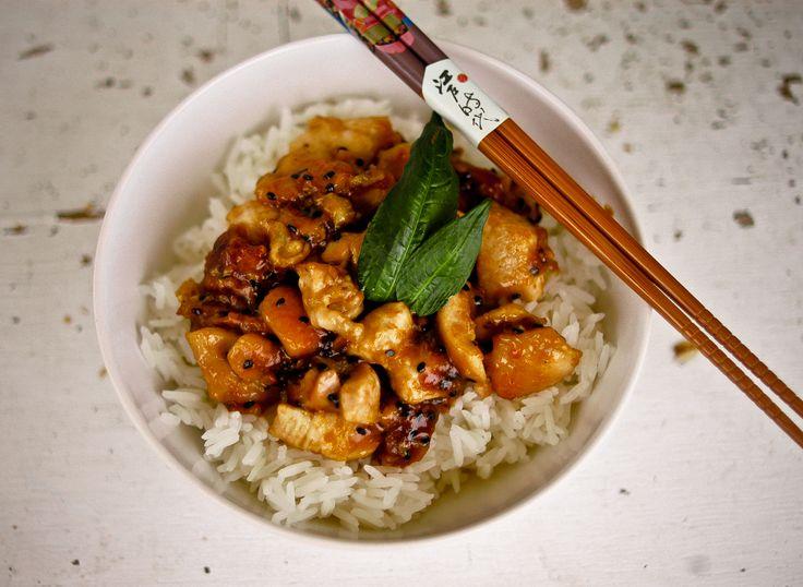 Jasmine rice and black sesame/orange oil chicken