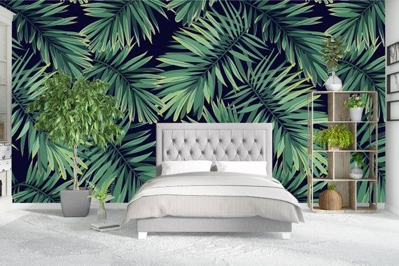 Tropical Leaves Dark Wallpaper Tropical Wall Mural Tropical Removable Wallpaper Peel And Stick Self Adhesive Wallpaper Decor Nsw36 Tropical Bedrooms Tropical Master Bedroom Tropical Bedroom Decor