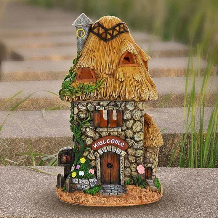 Fairy Homes and Gardens - Solar Welcome Fairy Cottage, $35.99 (https://www.fairyhomesandgardens.com/solar-welcome-fairy-cottage/)