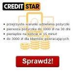 Oferta Creditstar to szybka pożyczka do 3000 zł z terminem spłaty do 30 dni, którą można przeznaczyć na dowolny cel. Pierwszą pożyczkę można otrzymać w kwocie do 1 000 zł na 30 dni, dla klientów powracających oferowane są wyższe kwoty do 3 000 zł. Firma zapewnia Nas, że udziela