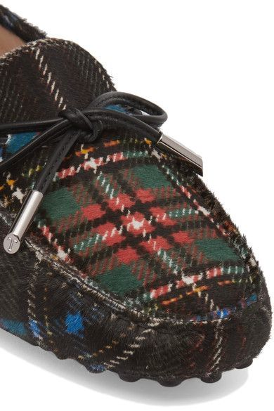 Tod's - Leather-trimmed Tartan Calf Hair Moccasins - Black