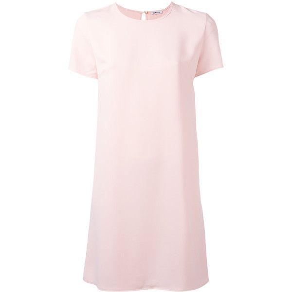 P.A.R.O.S.H. plain T-shirt dress ($275) ❤ liked on Polyvore featuring dresses, pink dress, t shirt dress, pink t shirt dress, t-shirt dresses and tee dress
