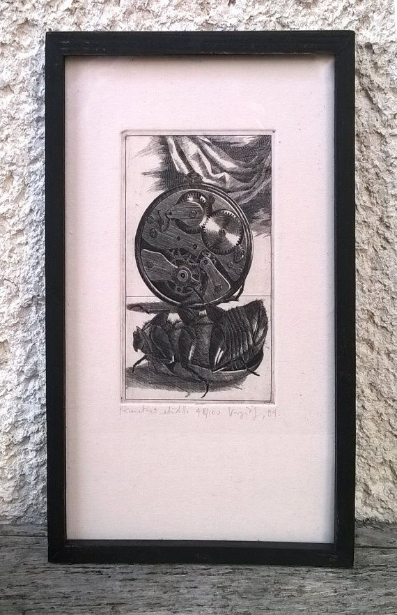 In memoriam G.Samsa framed copper engraving by ZsofiVarga on Etsy
