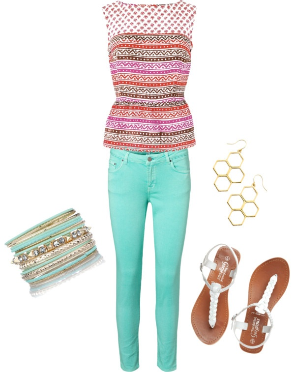 """Fun colored jeans outfit"" by offthecuffaccents on Polyvore"