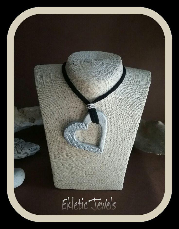 Clay heart pendant necklace handmade