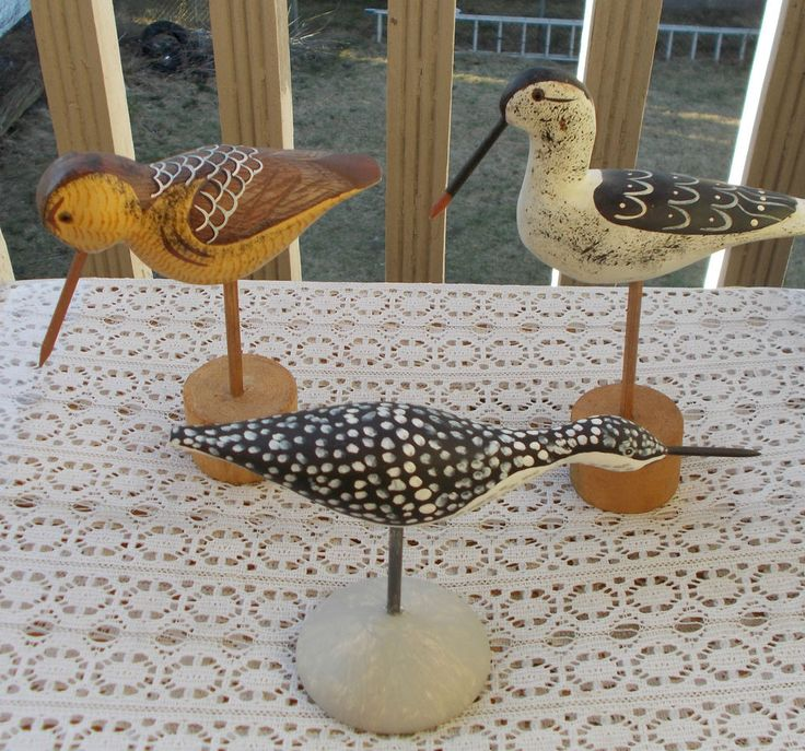 LOT 3 Vintage Wooden Carved Shore Birds Figurines Decoys Hand Painted LOOK NR