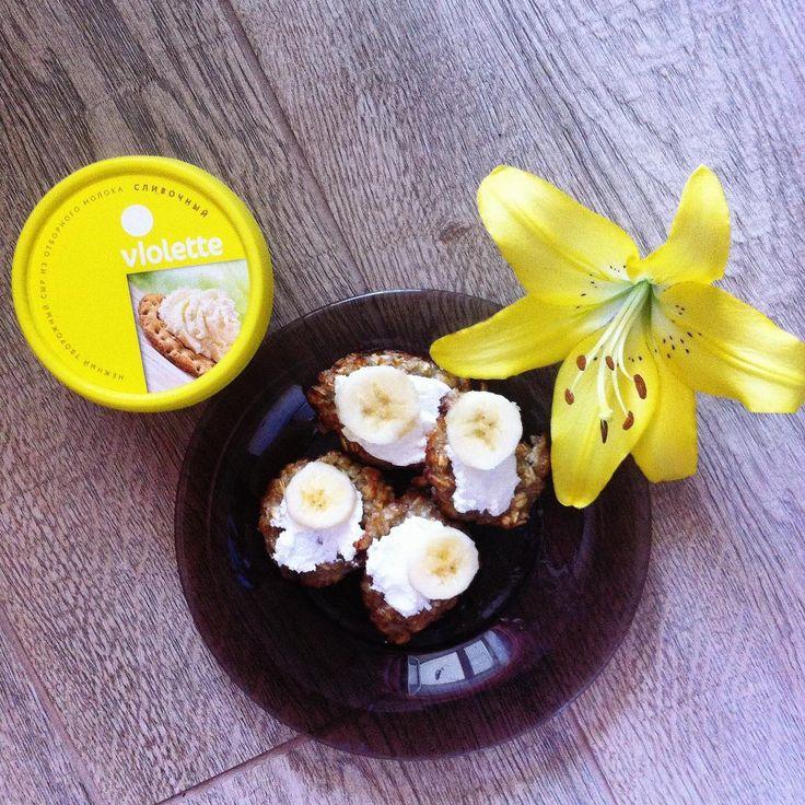 16 отметок «Нравится», 3 комментариев — @a_nastasiya22 в Instagram: «Продолжаем :) Идея для пп-завтрака. Овсяно-банановое печенье со сливочным творожным сыром…»