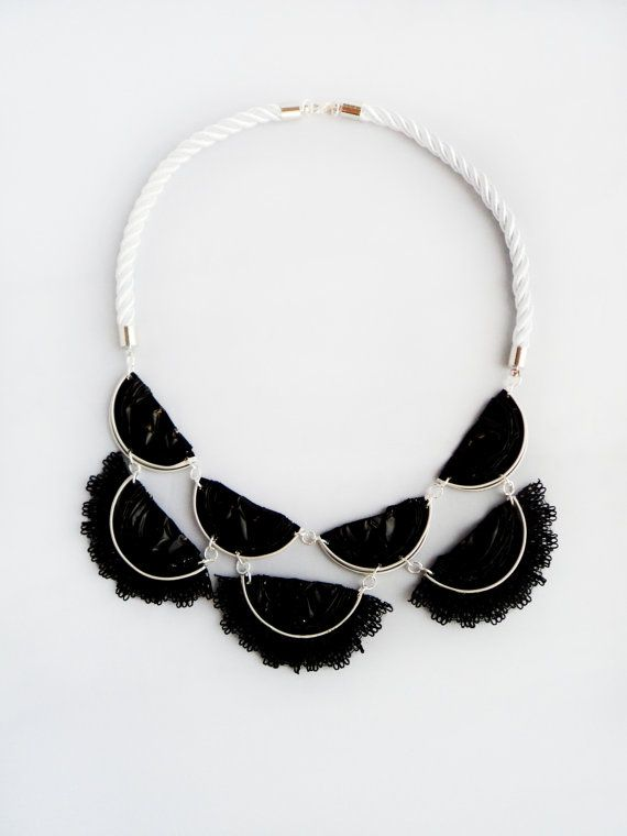 Handmade Necklace by recycling of Nespresso coffee pods  Necklance name: Black evil princess  Size: length: 21 cm width: 17 cm