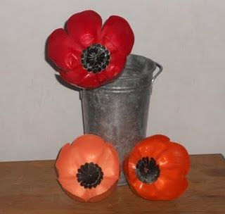 My recycled plastic bottle poppies - forever in bloom :)