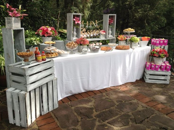 vintage shabby reception food display with wood crates