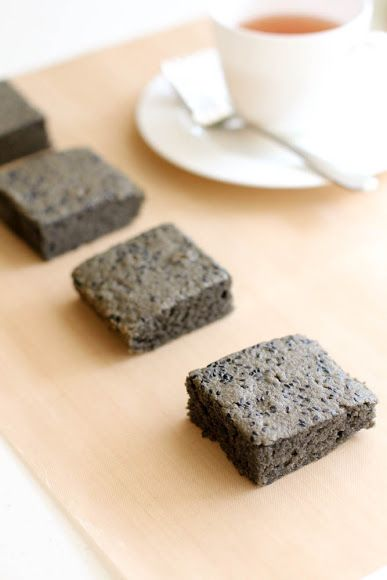 black sesame brownies... inspired by an old Japanese cookbook & in tribute to black sesame paste!