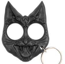 Black Kat Self Defense Key Chain - To use in a self defense situation, put your fingers into the eyeholes, and the 1 inch ears become a spike impact weapon when gripped tightly and swung or punched at your attacker.