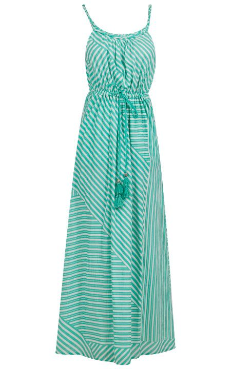 Envisage maxi dress by Jessika Allen in sea mist and white stripes - this would be be great with gold bangles, flat sandals and a giant hat