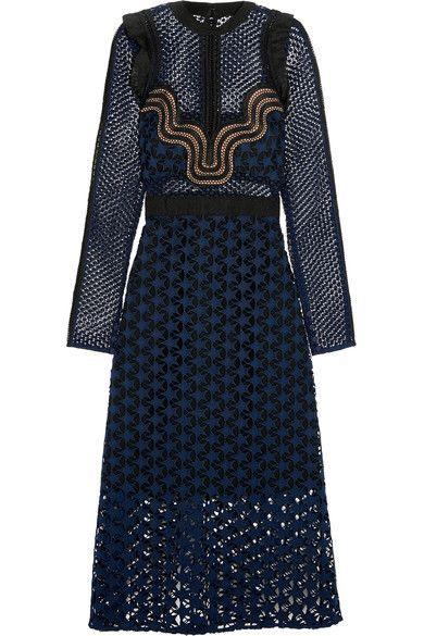 Self-Portrait - Ruffled Georgette-trimmed Guipure Lace Dress - Navy
