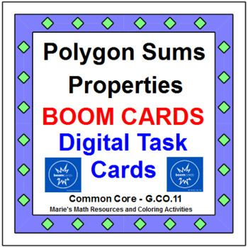 This is a set of 32 digital task cards on Polygon Sums. Problems include finding interior angle sums, one interior angle, exterior angle sums, one exterior angle, finding number of sides given an exterior angle, finding number of sides given interior angle sums.