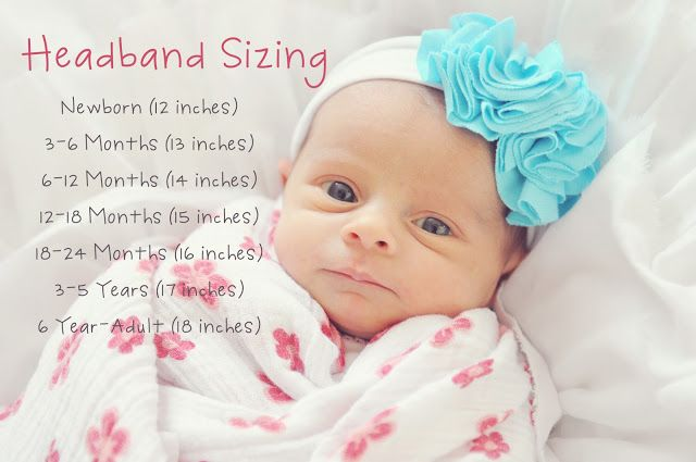 DIY Baby Headband Sizing- always have to look this up. Nice to have handy