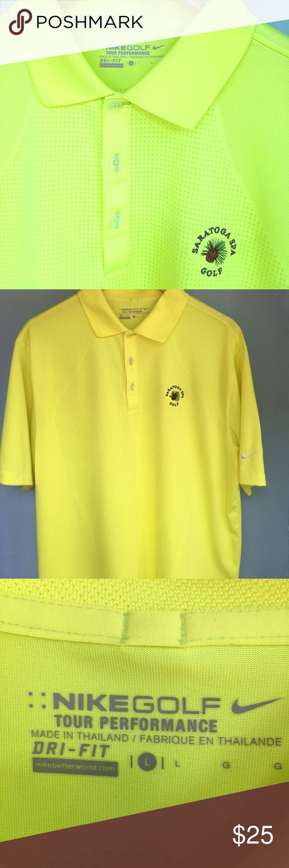 Nike polo shirt Super bright , super light Nike Golf shirt . Saratoga Spa Golf  logo embroidery . The horse racing / golf lover in your life would love this !!! NWOT . Nike Shirts Polos