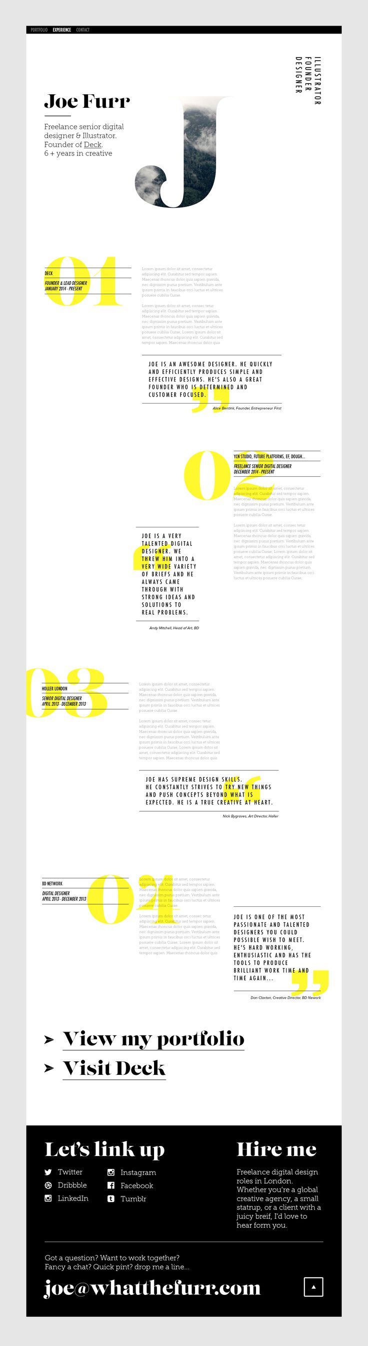 great use of typography layout for web personal project by joey furr https - Web Design Project Ideas