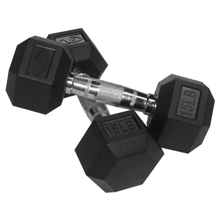 Valor Fitness RH-15 Rubber Hex Dumbbell Pair - 15lb, Black