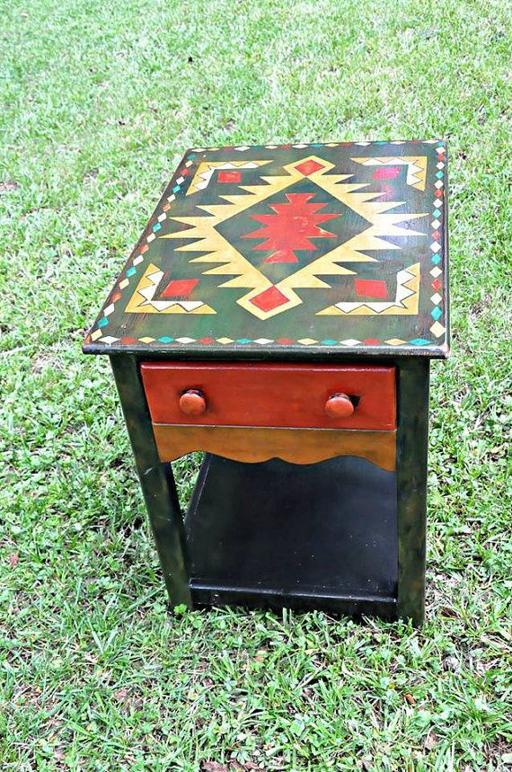 Tribal End Tables Native American Design Set of Two by Etenially, $3700.00