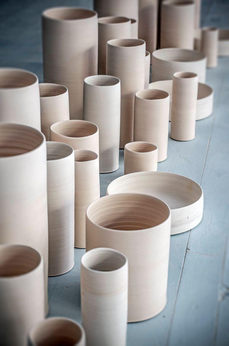 A cylinder landscape in the Tortus Studio. Handmade Danish ceramics from Tortus Copenhagen.