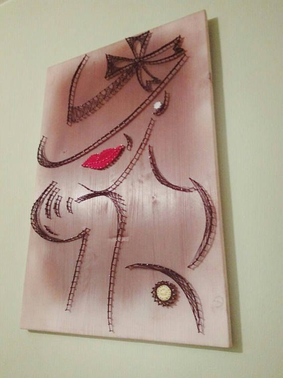String Art painting/wall decoration/wood art/mysterious lady/red lips/stylish decor/ modern 3D art/portret/
