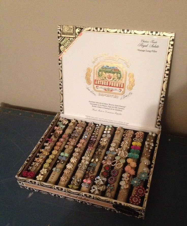 Cigar Box Earring Holder For Stud Earrings Altered Cigar