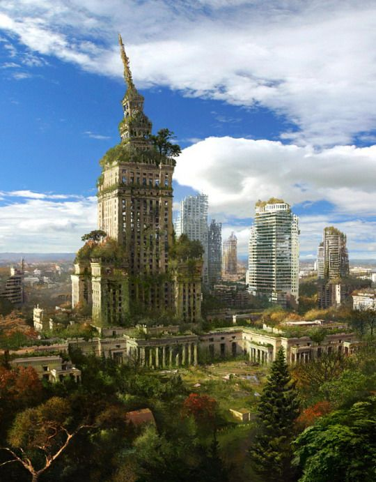 """""""Post-Apocalyptic Warsaw"""" - Actually, this still looks a little early for the Fifth World. This is probably only 100 or 200 years in. After 400 years, most of those tall buildings would've fallen over."""