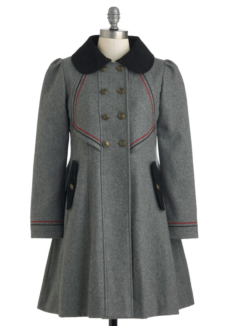 Stylish to the Chorus Coat in Grey by Dear Creatures - Grey, Red, Black, Buttons, Pockets, Long Sleeve, 4, Vintage Inspired, Winter