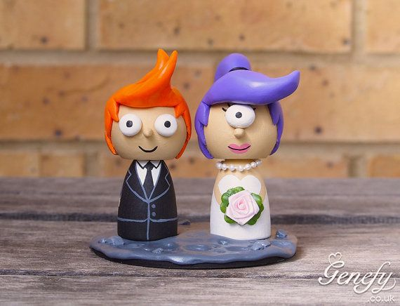 Cute cartoon wedding cake topper  Bride and by GenefyPlayground, £138.00