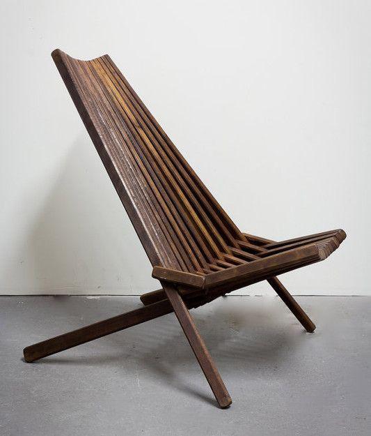 Vintage Danish Modern Teak Slatted Folding Chair: Remodelista