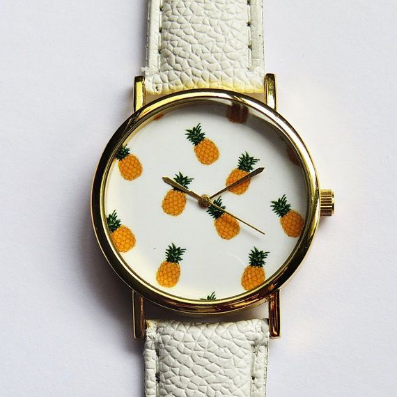 Tropical Fruit Pineapple Watch Vintage Style Leather by FreeForme, $12.00