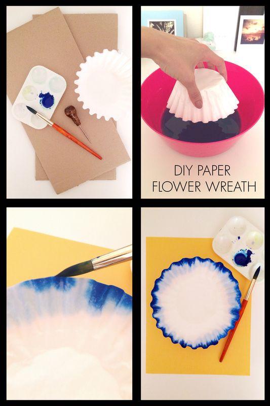DIY flower paper wreath - I love this dip-dye technique!