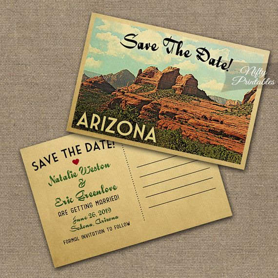 Arizona Save The Date Postcard  Vintage Travel by NiftyPrintables