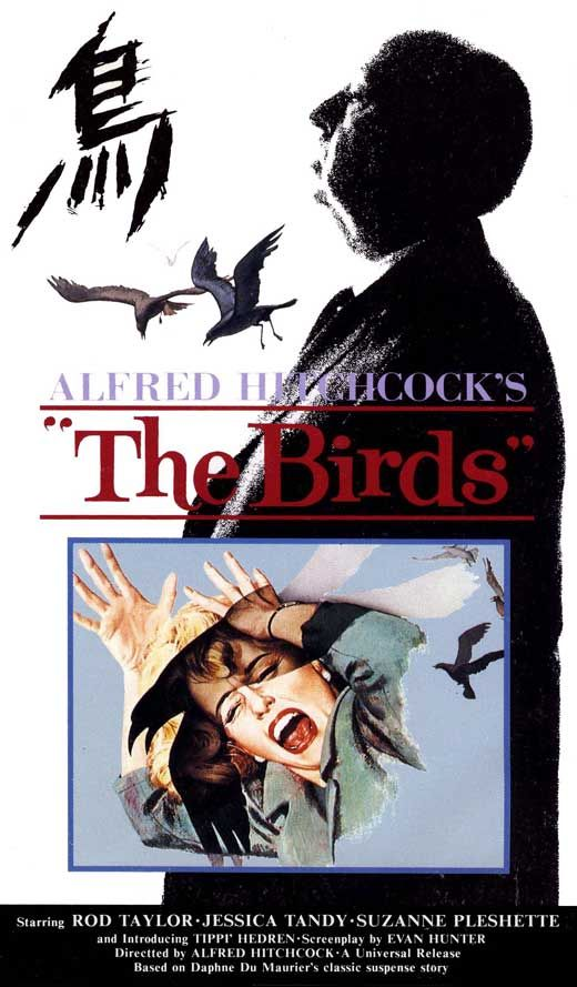 movie poster  Those menacing birds ... I love this movie so much. From its suspense to clean cinematography to quirky touches like the birds leaning from side to side in a cage as Tippi Hedren's sportscar swerves around corners.
