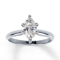 14K White Gold 1 Carat Marquise Diamond Solitaire