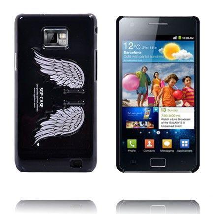 Enkelin Siivet - Standi (Musta) Samsung Galaxy S2 Suojakuori