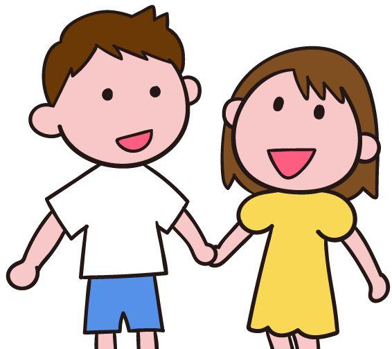 手をつなぐ 手をつなぐと笑顔になる 子ども イラスト素材