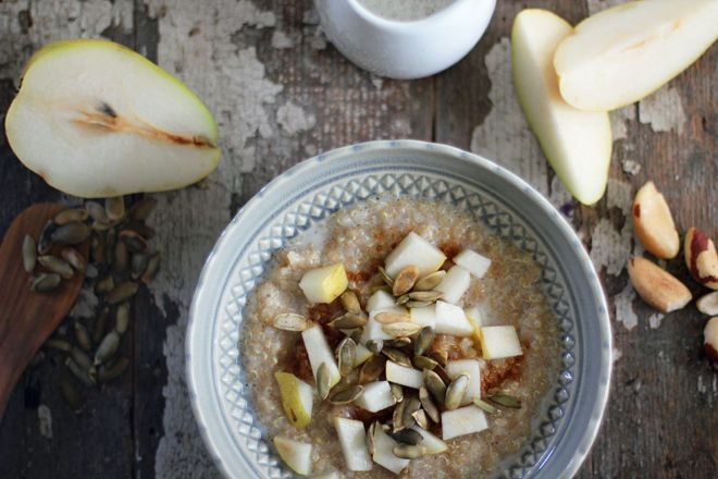 Ancient Grains Pear Porridge is a gluten free morning porridge with quinoa, amaranth, pear, and warming spices.