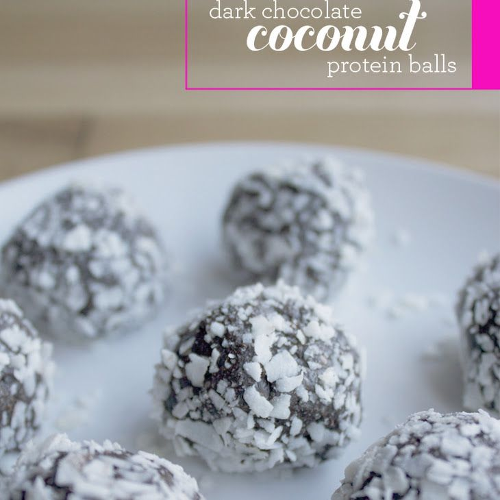Dark Chocolate Coconut Protein Balls Recipe Desserts with chia seeds, almond butter, protein powder, dark chocolate cocoa powder, sea salt, honey, coconut oil, unsweetened shredded dried coconut, vanilla extract, unsweetened shredded dried coconut, protein powder, almond butter, dark chocolate cocoa powder, chia seeds, honey, sea salt, water, unsweetened shredded dried coconut