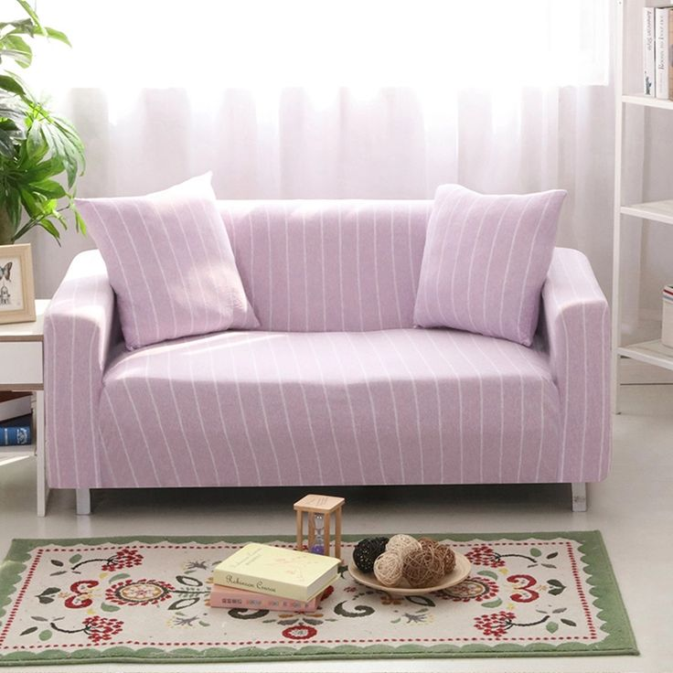Light purple stripe stretch sofa cover for living room,multi-size knitted universal corner sofa cover,polyester couch sofa cover