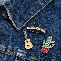 3pcs/set Hat Cup Guitar Cactus Potted Plant Brooch Denim Jacket Pin Buckle Shirt Badge Jewelry