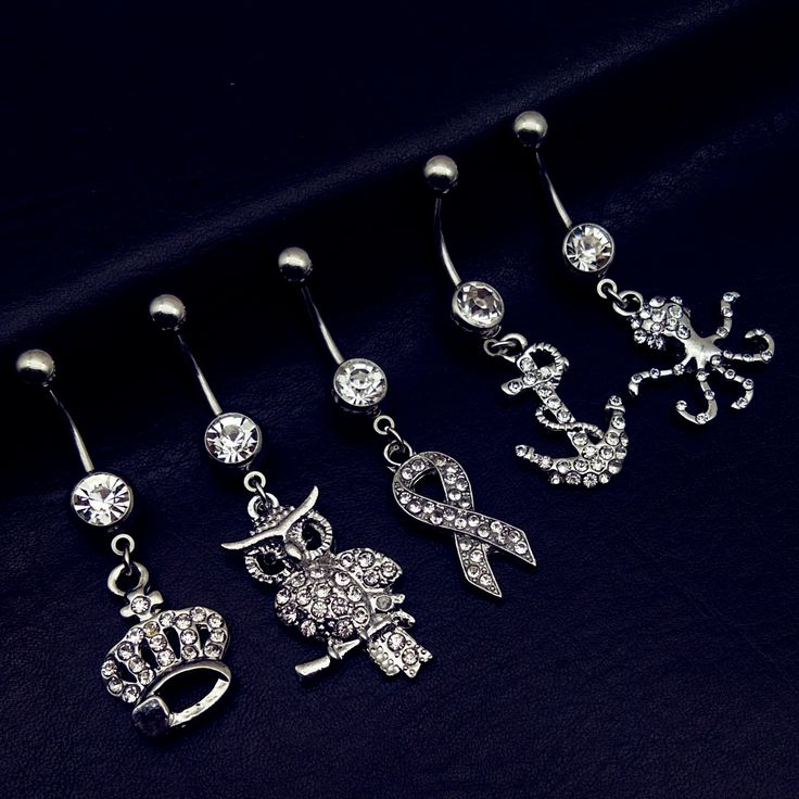 5pcs 2017 new arrivals clear crystal crown owl ribbon octopus anchor dangling navel belly bar button rings body piercing jewelry
