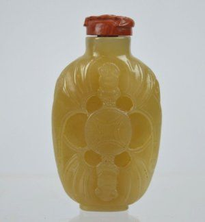 Unusual Chinese Light Jade Carved Snuff Bottle