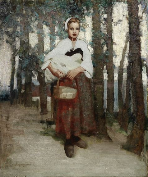 William Lee-Hankey - A girl with a basket on a...